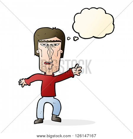 cartoon angry man waving warning with thought bubble