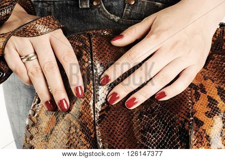 Glamorous girl with fashion accessories, bag and hand with red nail polish