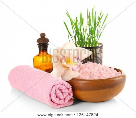 Spa treatment with sea salt isolated on white.