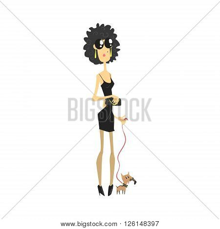 City Woman With Chihuahua Flat Isolated Vector Simple Drawing On White Background In Funny Cartoon Style