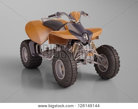 3d renfering: ATV quad bike, studio shooting, soft lighting