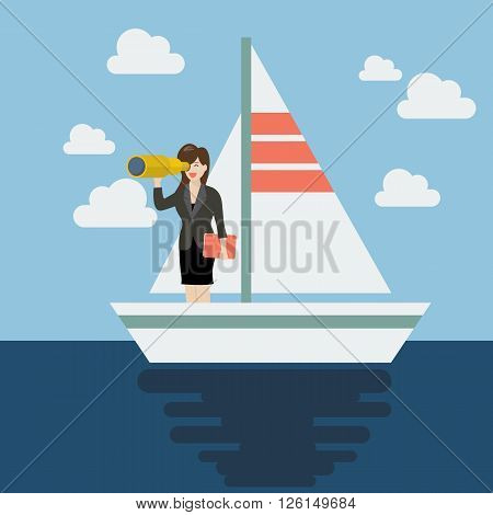 Business man sailing and looking for future. Business concept