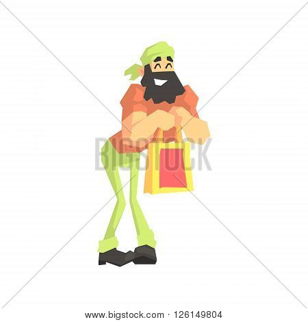 Beardy Man With Shopping Bag Flat Isolated Vector Illustration in Cartoon Geometric Style On White Background