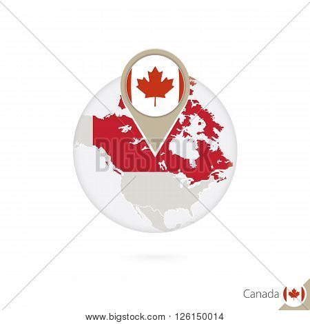 Canada Map And Flag In Circle. Map Of Canada, Canada Flag Pin. Map Of Canada In The Style Of The Glo