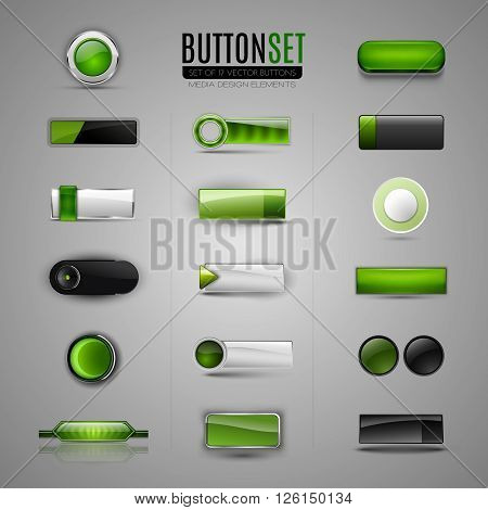 Set of green buttons. Vector buttons for web app infographic. Design elements.