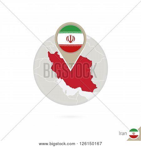Iran Map And Flag In Circle. Map Of Iran, Iran Flag Pin. Map Of Iran In The Style Of The Globe.