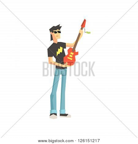 Guy Buying Electro Guitar Flat Isolated Vector Illustration in Cartoon Geometric Style On White Background