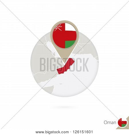 Oman map and flag in circle. Map of Oman Oman flag pin. Map of Oman in the style of the globe. Vector Illustration.