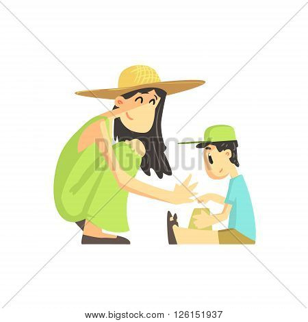 Mother And Son In Sandbox Flat Vector Simplified Childish Cartoon Style Illustration Isolated On White Background
