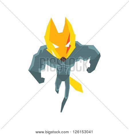 Muscly Fox Super Hero Character Flat Geometrical Design Cool  Vector Icon On White Background
