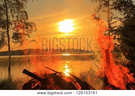Midsummer at sunset. Beautiful Midsummer evening at sunset.