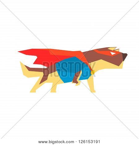 Dog  Super Hero Character Flat Geometrical Design Cool  Vector Icon On White Background