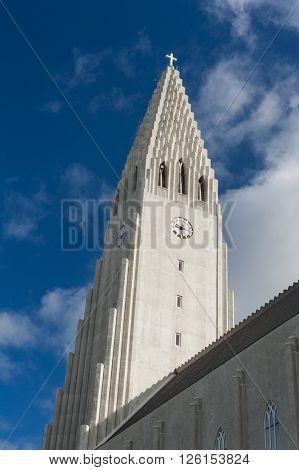 Detail of Hallgrimskirkja lutheran cathedral in Reykjavik, the largest church on Iceland