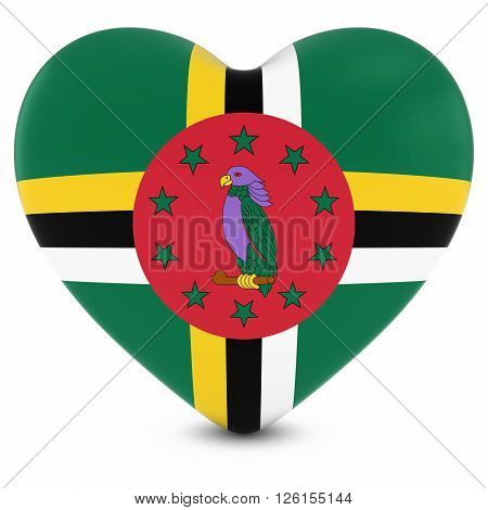 Love Dominica Concept Image - Heart Textured With Dominican Flag