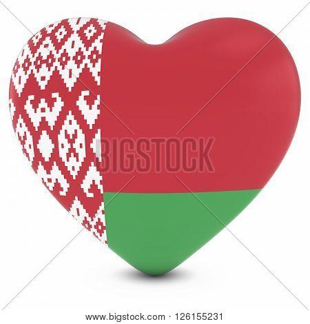 Love Belarus Concept Image - Heart Textured With Belarusian Flag