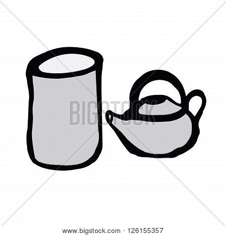 Japanese tea cup and teakettle in hand drawing doodle style isolated on white background