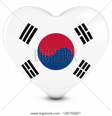 Love South Korea Concept Image - Heart Textured With South Korean Flag