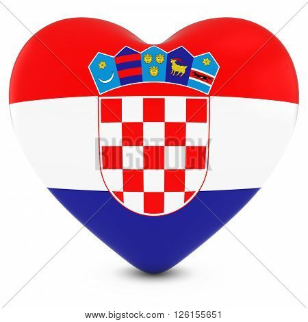 Love Croatia Concept Image - Heart Textured With Croatian Flag