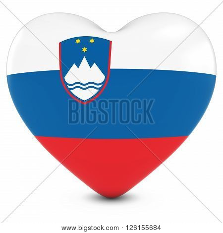 Love Slovenia Concept Image - Heart Textured With Slovenian Flag