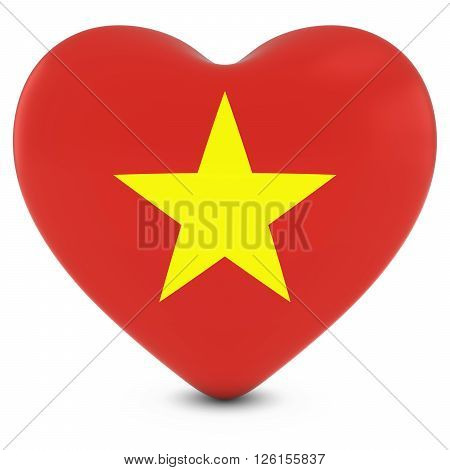 Love Vietnam Concept Image - Heart Textured With Vietnamese Flag