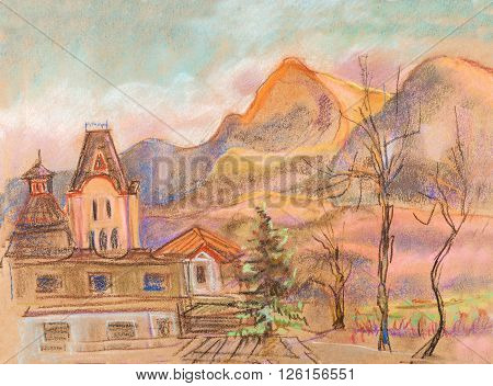 Temple near high mountains April , north Caucasus