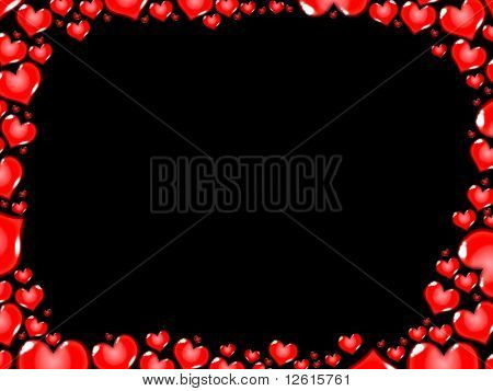 Love Red Hearts Border Frame Card Black