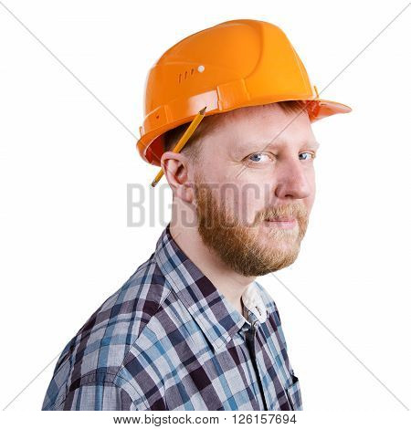 Bearded construction worker in orange construction helmet