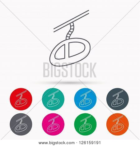 Teleferic icon. Telpher cable-railway sign. Linear icons in circles on white background.