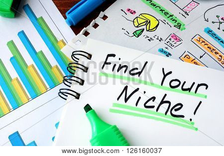 Notepad with sign Find Your Niche on a wooden background.
