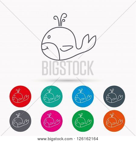 Whale icon. Largest mammal animal sign. Baleen whale with fountain symbol. Linear icons in circles on white background.