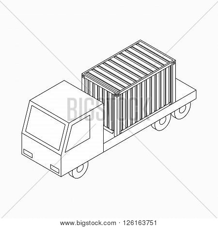 Cargo container on truck  icon in isometric 3d style isolated on white background