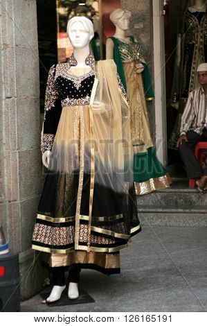 HYDERABAD,INDIA-MARCH 19:Mannequins dressed in latest fashion in front of retail clothes shop on March 19,2016 in Hyderabad,India.