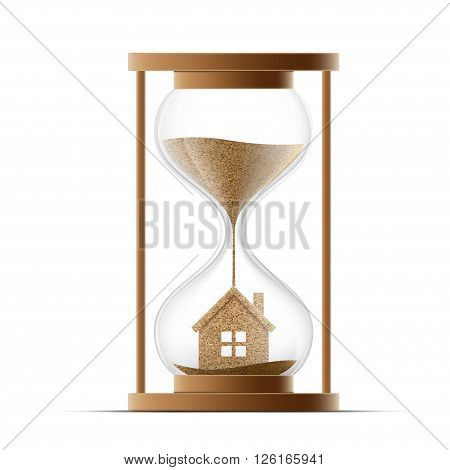 Hourglass with the house. Construction of real estate. Property insurance. Stock vector illustration.
