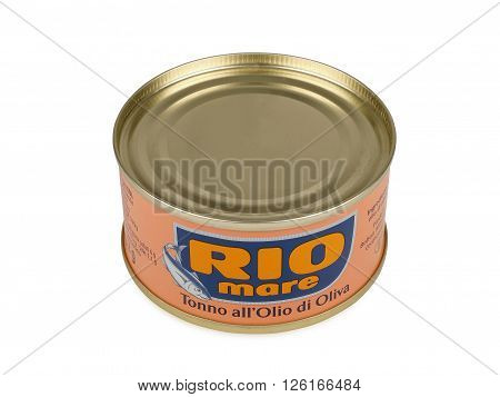 PULA CROATIA - APRIL 17 2016: Can of Rio Mare brand tuna in olive oil. Rio Mare is manufactured by Bolton Group the European leader in canned tuna fish.