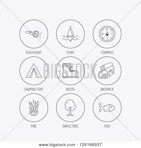 Maple tree, fishing float and hiking boots icons. Compass, flashlight and fire linear signs. Camping tent, fish and backpack icons. Linear colored in circle edge icons.