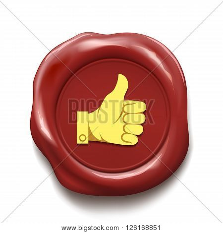Thumb up on wax seal. Like icon. Stock vector illustration.