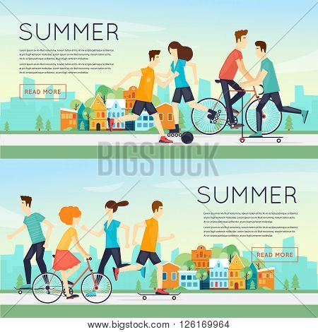 Physical activity people engaged in outdoor sports, running, cycling, skateboarding, roller skating, summer. Flat design vector illustration. Banners.
