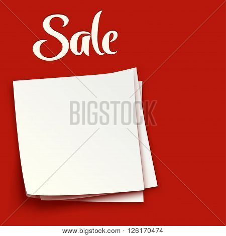 illustration of group of paper lists on red background sale