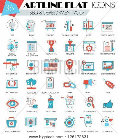 Vector SEO and development ultra modern outline artline flat line icons for web and apps