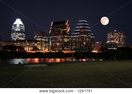Downtown Austin, Texas At Night With Moon