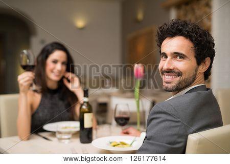 Couple having dinner in a luxury restaurant