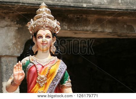 HYDERABAD,INDIA-APRIL 15:Idol of hindu goddess sita on lorry in procession on sri rama navami cebrations on April 15,2016 in Hyderabad,India.