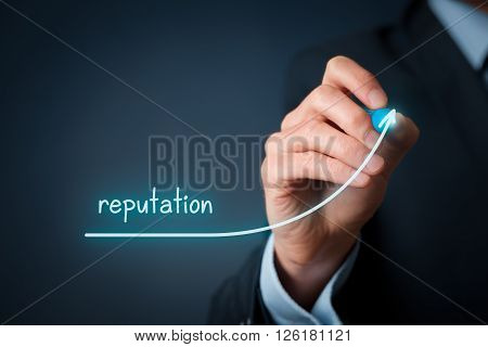 Corporate reputation improvement concept. Businessman (o PR specialist) plan to improve reputation of his company.