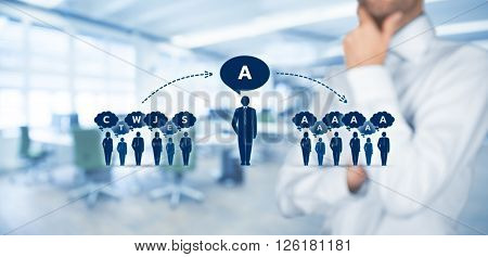 Influencer opinion leader team leader CEO and another business leading concepts. Opinion leader (for example politician) has power to influence opinion mass of people especially customers.