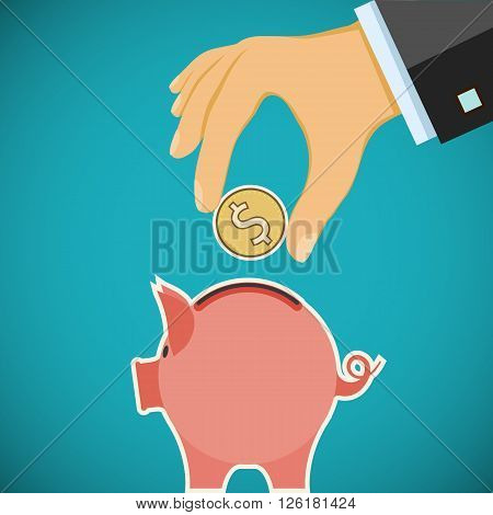Human hand with coin and piggy bank. Investments and savings. Stock vector illustration.