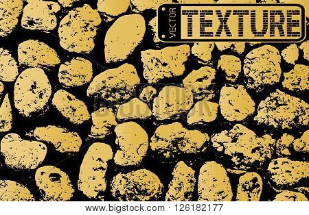 Vector Texture Of Golden Stone Coquina Wall In Cement. Vector Illustration