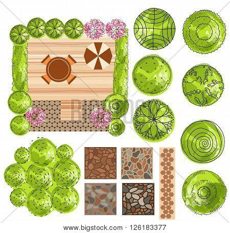 set of treetop symbols for architectural or landscape design. vector