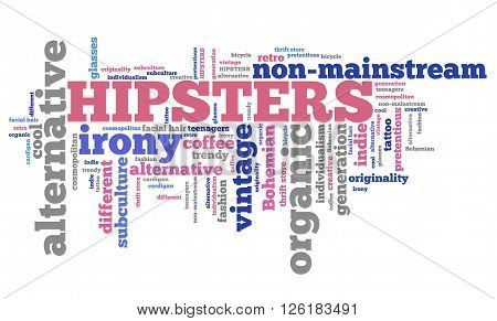 Hipsters lifestyle - contemporary alternative culture word collage. poster