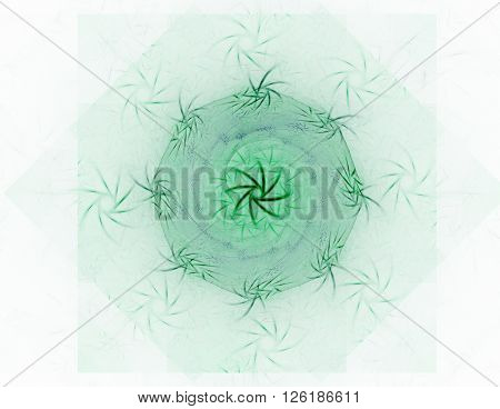Interplay of abstract fractal forms on the subject of nuclear physics science and graphic design.