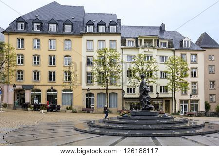 Luxembourg, Luxembourd - May 15: This is Place de Clairefontaine with monument of Grand Duchess Charlotte May 15, 2013 in Luxembourg, Luxembourg.